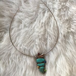 Sterling Silver Necklace w/ Turquoise Pendant